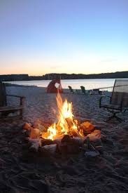 Beach Fire Pit by Rustic Lake Front Cottage Lake Charlevoix Vrbo