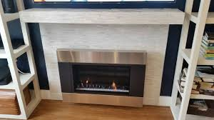 installation of ventless gas fireplace w mantle construction and