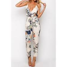 backless jumpsuit wholesale stylish spaghetti floral print backless jumpsuit