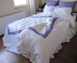 Purple And White Duvet Covers White Linen Duvet Cover With Purple Border Cal King Duvet