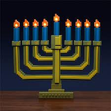 outdoor hanukkah menorah 8 bit light up menorah thinkgeek