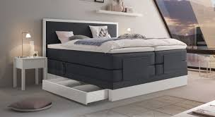 Schlafzimmer In Anthrazit Elektrisch Verstellbares Boxspringbett Mit Schubkasten Pando