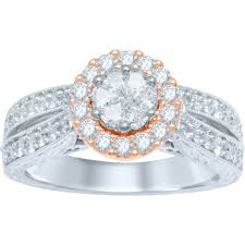 diamond ring cuts cuts 14k two tone 1 ctw invisible floella pie cut engagement