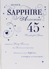 45 wedding anniversary sapphire anniversary card 45 years crediton card centre