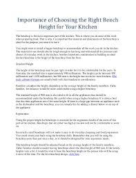 What Is The Standard Height For Kitchen Cabinets Importance Of Choosing The Right Bench Height For Your Kitchen