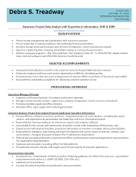 list of qualifications business project data analyst resume