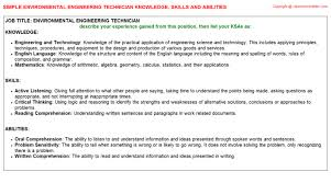 Resume Other Skills Examples by Environmental Engineering Technician Knowledge U0026 Skills