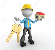 3d people man person with keys in hand and a house builder