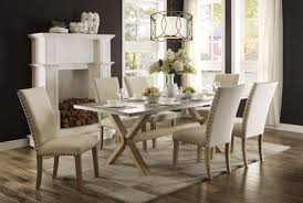 luella cool weathered oak zinc top dining table from homelegance