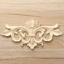 vintage unpainted wood carved decal corner onlay applique frame