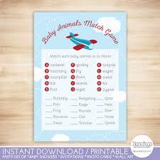 frog baby shower invitations airplane baby animal match baby shower game little aviator