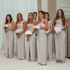 sell bridesmaid dress gray cheap one shoulder side slit chiffon cheap 2017 sell