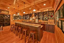 rustic bar with pendant light crown molding in sevierville tn