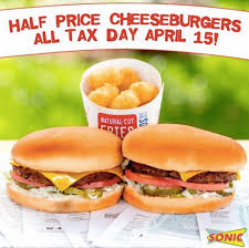half price restaurant sonic drive in half price cheeseburgers on april 15th restaurant