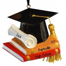 high school graduation cap books real tassel ornament