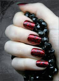 45 stylish red and black nail designs black nails red black