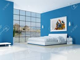blue bedroom of a beach villa rendering the art picture on