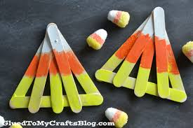 Halloween Crafts With Kids by Popsicle Stick Candy Corn Kid Craft