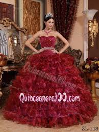 burgundy quince dresses organza ruffles gown dress for quinces in wine