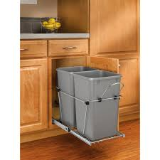 silver metallic pull out trash cans kitchen cabinet organizers