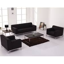 Black Leather Living Room Sets Red Leather Love Seat Combined With Round Glass Top Coffee Table