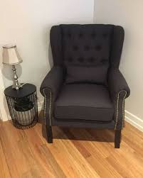 French Wingback Chair Sale Black Linen French Wing Back Arm Chair