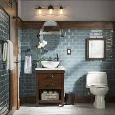lowes bathroom design warm wood tones and cool blues click the link in profile to shop