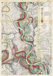 Frontal Boundary Map Ribbons Of Water Vintage Maps Of The Wandering Mississippi