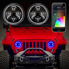 jeep lights on top jeep headlight rgb halo ring jeep off road 7