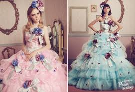 these barbie inspired blue and pink floral gowns by uno et l
