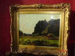 oil on canvas under glass cows near a forest signed hugh