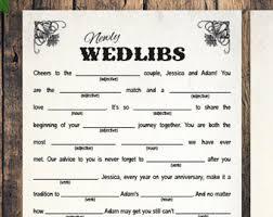 wedding mad libs wedding mad libs etsy