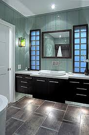 Glass Tiles Bathroom Green Glass Tiled Wall Light Countertop Sink Dark Vanity Under