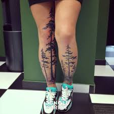 12 forest tattoos on leg