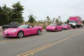 barbie cars barbie u0027s pink motorcade is spotted leaving malibu business wire