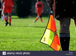Football Penalty Flags Football Or Soccer Line Judge Official Referee Holding Flag Stock