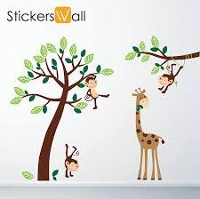 monkey giraffe tree nursery jungle wall stickers amazon co uk monkey giraffe tree nursery jungle wall stickers amazon co uk kitchen home