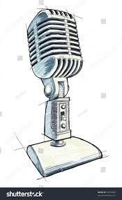 vintage microphone sketch bitmap copy my stock illustration