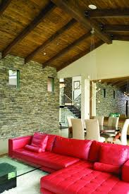 red sofas creating a modern impression of living room hupehome
