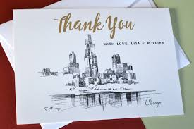 personalized thank you cards chicago skyline wedding thank you cards