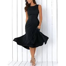 long a line sleeveless semi formal plain prom dress in black l