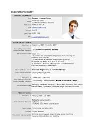 Resume Format Sample Resume by European Resume Format Example Resume Format