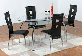 Circular Glass Dining Table And 4 Chairs Table Oval Glass Dining Table Set Scandinavian Expansive Oval