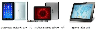 android tablet comparison micromax funbook pro vs karbonn smart tab 10 vs spice stellar pad