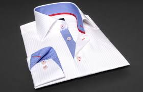 white corporate dress shirt tone on tone rays blue and red