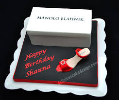 manolo blahnik shoebox and high heel cake delicious cake