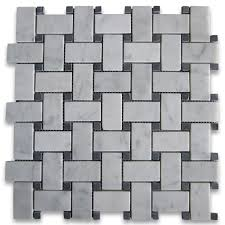 Tile Black And White Marble by Carrara White 1x2 Basketweave Mosaic Tile W Black Dots Honed