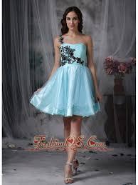 aqua blue a line one shoulder short prom dress with black appliques
