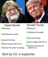 Gabe Newell Memes - gabe newell donald trump billionaire billionaire infamous hat