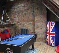 game room ideas family room industrial with pool table union jack